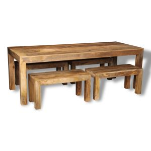 Dakota Light 220cm Dining Table & 4 Small Benches
