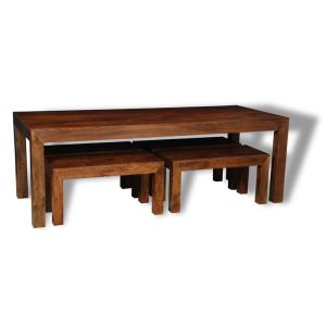 Dakota 220cm Dining Table & 4 Small Benches