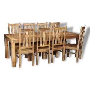 Dakota Light 220cm Dining Table & 8 Dakota Chairs
