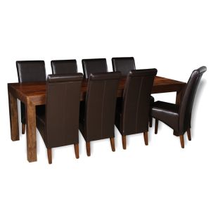 Dakota 220cm Dining Table & 8 Rollback Chairs (4 Colours)