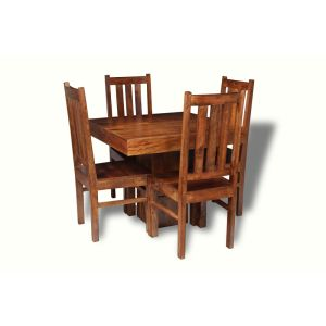 Small Dakota Cube Dining Table & 4 Dakota Dining Chairs