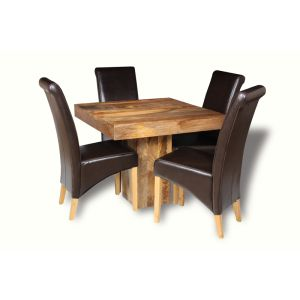 Light Dakota 90cm Cube Dining Table & 4 Rollback Chairs
