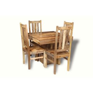 Light Dakota 90cm Cube Dining Table & 4 Dakota Chairs