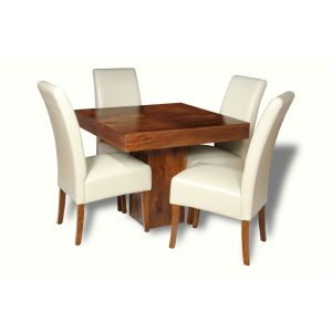 Small Dakota Cube Dining Table & 4 Madrid Leather Chairs