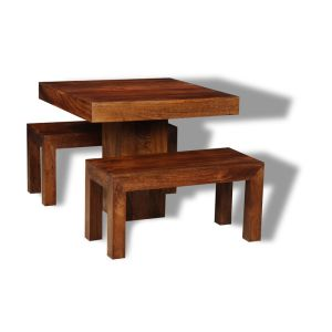 Small Dakota Cube Dining Table & 2 Dining Benches