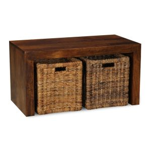 Dakota Coffee Table with Rattan Baskets