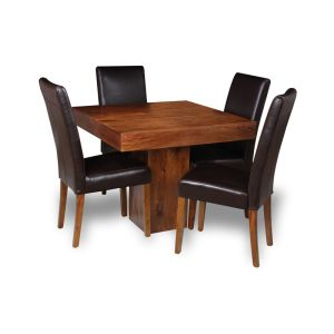 Small Dakota Cube Dining Table & 4 Barcelona Leather Chairs