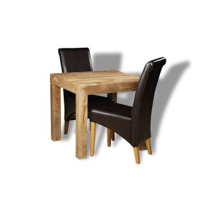 Light Dakota 80cm Dining Table & 2 Rollback Chairs