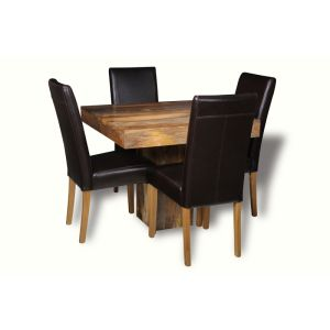 Light Dakota 90cm Cube Dining Table & 4 Leather Chairs