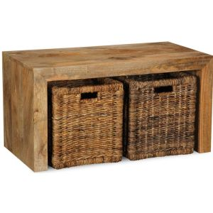 Light Dakota Coffee Table with Rattan Baskets