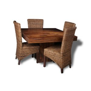 Dakota Cube Dining Table & 4 Rattan Chairs