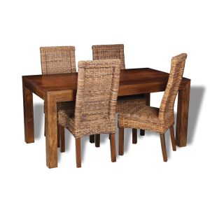 Dakota 160cm Dining Table & 4 Rattan Chairs