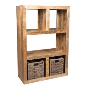 Light Dakota Open Bookcase with Rattan Baskets