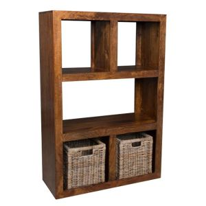 Dakota Open Bookcase with Rattan Baskets