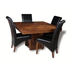 Dakota Cube Dining Table & 4 Rollback Chairs