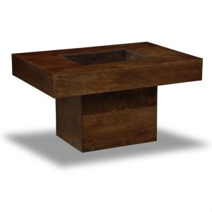 Mango Wood Small Glass Topped Coffee Table