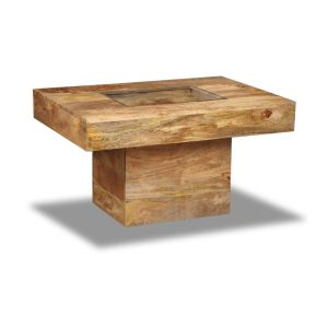 Light Mango Wood Small Glass Topped Coffee Table