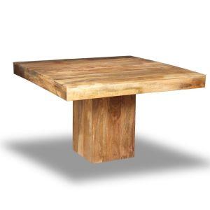 Light Mango Wood 120cm Cube Dining Table