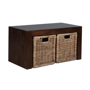 Small Open Mango Coffee Table with Rattan Wicker Baskets