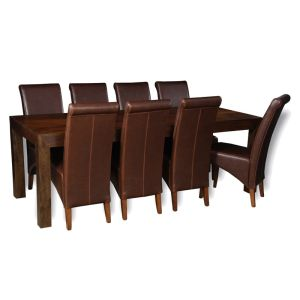 Mango 220cm Dining Table & 8 Rollback Chairs