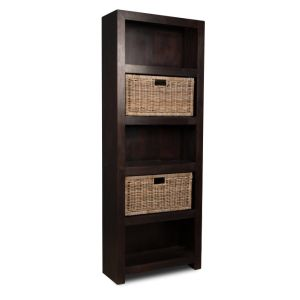 Mango Wood Bookcase with Rattan Wicker Baskets
