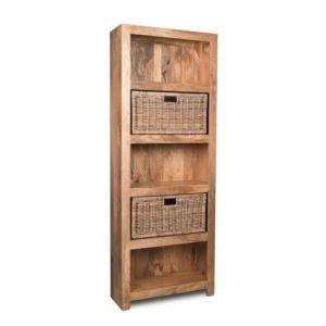 Light Mango Wood Bookcase with Rattan Wicker Baskets