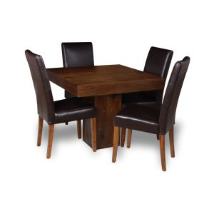 Mango 90cm Cube Dining Table & 4 Barcelona Chairs