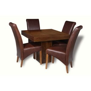 Mango 90cm Cube Dining Table & 4 Rollback Chairs