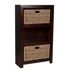 Mango Wood Medium Shelves and Rattan Wicker Baskets
