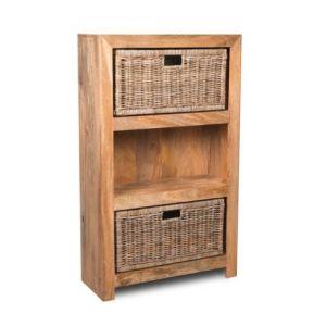 Light Mango Medium Shelves and Rattan Wicker Baskets