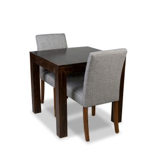 80cm Mango Wood Dining Table & 2 Milan Fabric Chair