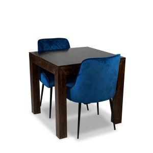 80cm Mango Wood Dining Table & 2 Henley Velvet Chairs