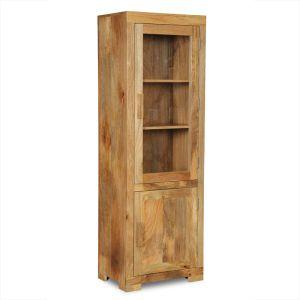 Light Mango Wood Display Cabinet