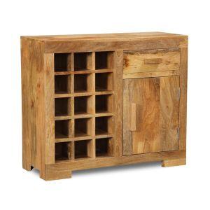 Light Mango Wood Wine Rack Cabinet