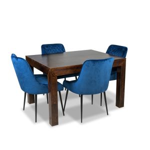 Mango 120cm Dining Table & 4 Henley Velvet Chairs