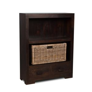 Mango Wood Small Bookcase with Rattan Wicker Basket