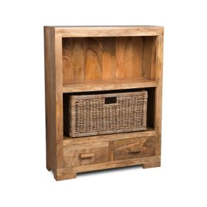 Mango Light Small Bookcase with Rattan Wicker Basket