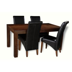 Mango 160cm Dining Table & 4 Rollback Chairs