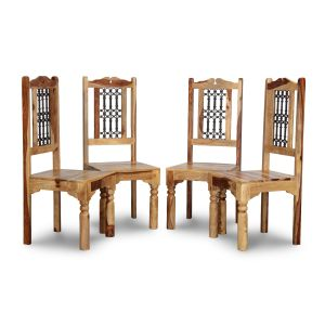 Set of 4 Jali Light Dining Chairs