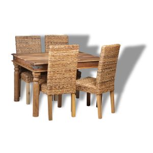 Small Jali Natural Dining Table and 4 Rattan Chairs