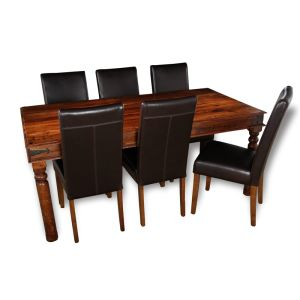 Large Jali Dining Table & 6 Barcelona Chairs