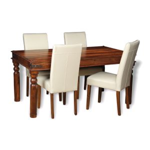 Jali Dining Table & 4 Barcelona Chairs