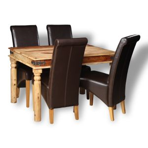 Small Jali Light Dining Table & 4 Rollback Chairs