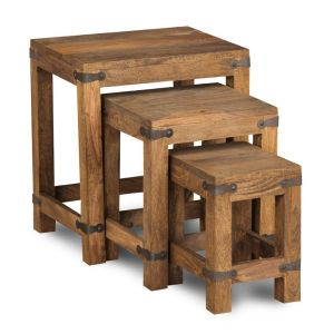 Jali Natural Nest of 3 Coffee Tables