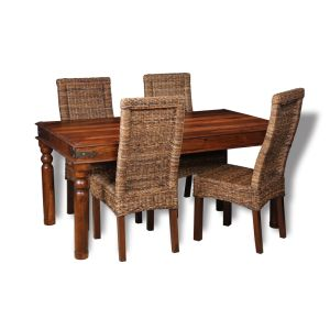 Jali Dining Table & 4 Rattan Chairs