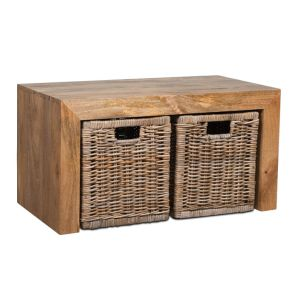 Light Small Open Mango Coffee Table and Rattan Baskets