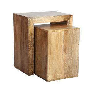 Light Mango Wood Cube Nest
