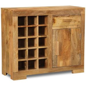 Light Mango Wine Rack Cabinet