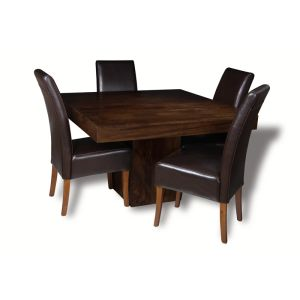 Mango 120cm Cube Dining Table & 4 Madrid Chairs