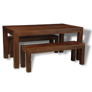 Mango 160cm Dining Table & 2 Small Mango Benches